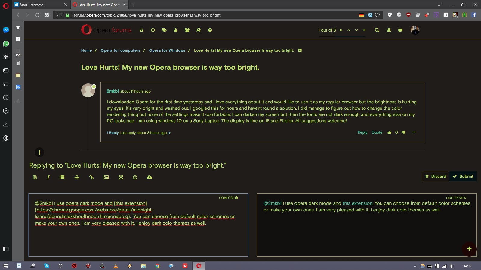 Love Hurts! My new Opera browser is way too bright    Opera forums