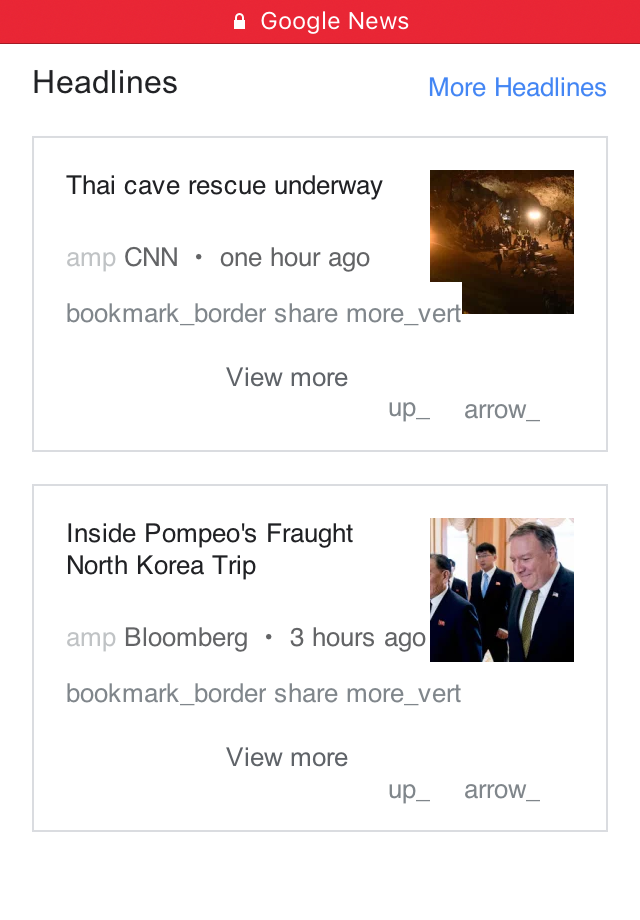 Screenshot of Google News in Opera Mini