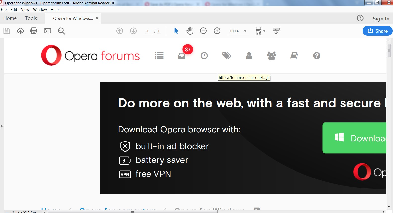 Save As PDF Issue | Opera forums