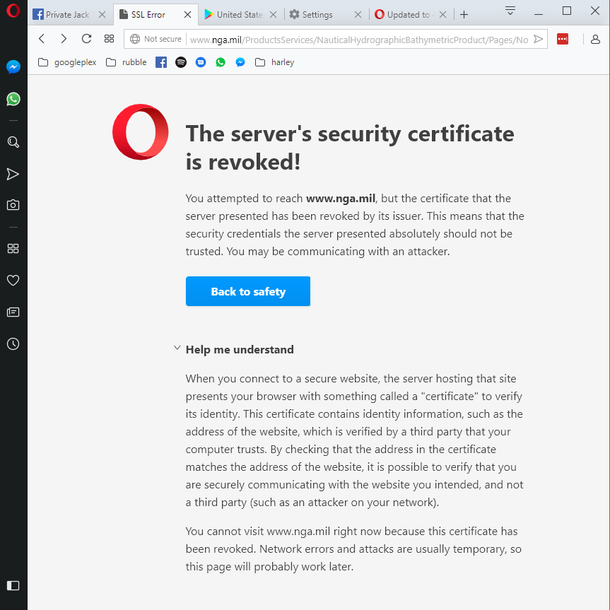 Certificate Issue At Nga Opera Forums