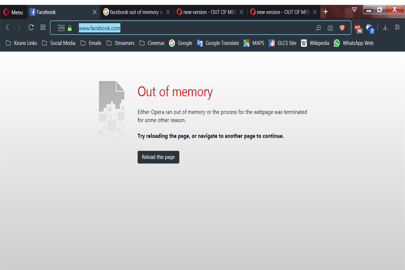 Out of Memory message | Opera forums