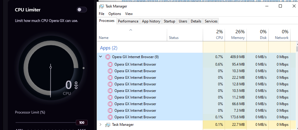 Bug] CPU usage very high, even with a limiter on | Opera forums